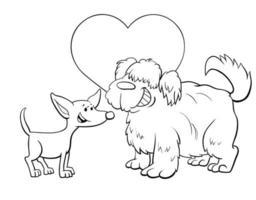 valentinkort med söta hundar i färgbok vektor