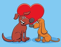 Alla hjärtans-kort med kärleksfulla hundkaraktärer vektor