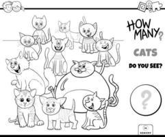räknar katter pedagogiska spel färg bok vektor