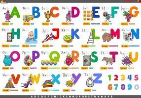 Alphabet mit Zeichentrickfiguren und Objekten eingestellt vektor