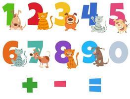 Zahlen mit glücklichen Katzen und Hunden gesetzt vektor