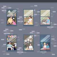 människor i olika lägenhetsfönster