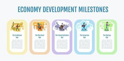 ekonomi utveckling milstolpar infographic mall vektor