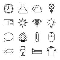 uppsättning av 16 linjära ikoner vektor