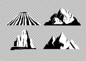 hohe Berge flache Schwarz-Weiß-Objekte gesetzt vektor