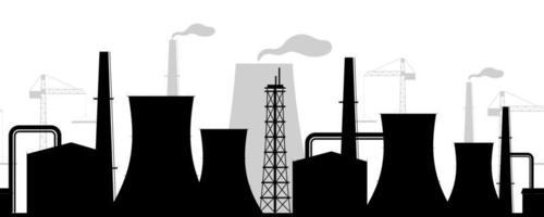 stad industribyggnader svart siluett vektor