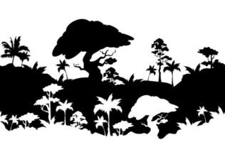 schwarze Silhouette der Dschungellandschaft