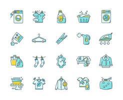 tvätt typer och utrustning ikoner set. vektor