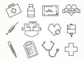 medicinska linjära ikoner
