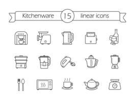 Küchengeräte lineare Symbole gesetzt. vektor