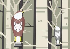 Buzzard Bird Sitting vid en gren vektor illustration