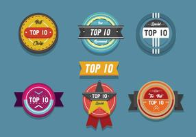 Topp 10 Banner Etikett Flat Vector Pack