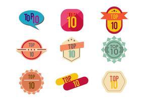 topp 10 bagdes vektor