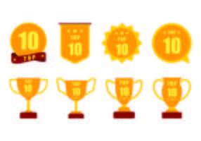 Set med TOP 10 Vector Badges