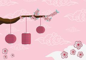 Pflaumenblüten-Baum-Hintergrund-Vektor