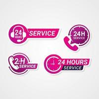 24-Stunden-Service-Ausweisetiketten oder Aufkleber vektor