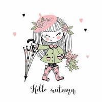 en liten flicka i en basker går på hösten