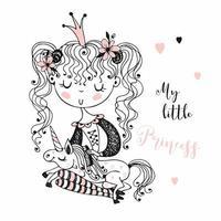 söt liten prinsessa med en enhörning.