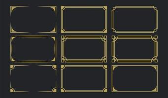 goldene Art-Deco-Rahmen gesetzt vektor