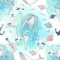 Meeresthema mit einem Mädchen, Walen und Möwen vektor
