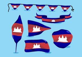 Kambodscha-Flaggen-Vektor-Satz
