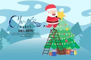 julfest bakgrund med söt santa på stor stjärna