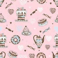 nahtloses Muster mit Süßigkeiten, Kuchen und Gebäck. vektor