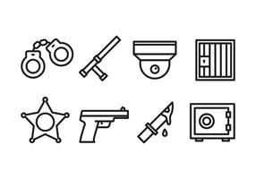 Polis och brott Icon Pack vektor