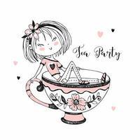 süßes Mädchen, das Tee trinkt. Tee-Party.
