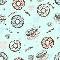 nahtloses Muster mit süßen Donuts und Süßigkeiten.