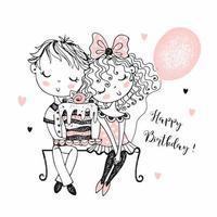 Ein Junge gibt einem Mädchen einen großen Kuchen.