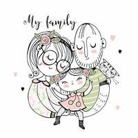glad familj. mor far och dotter.
