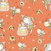 Blumenfee und Honigbienen.