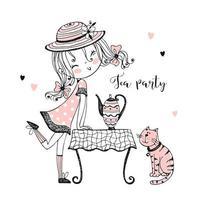 en söt tjej med te med sin katt. vektor