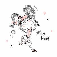 söt tjej som spelar tennis. vektor