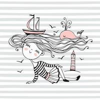 süßes kleines Seemannsmädchen. vektor