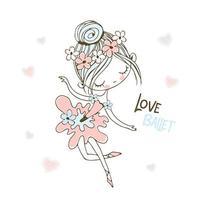 Eine kleine Ballerina in einem Tutu tanzt.