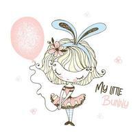 liten flicka i kaninöron med en ballong. vektor