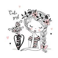 härlig flicka med blommor i en vas.