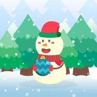niedliche Schneemann-Weihnachtsfigur halten Verzierung vektor