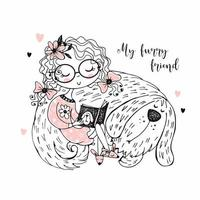 Mädchen liest ein Buch mit ihrem Hund.