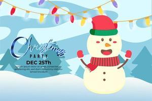 julfest med söt glad snögubbe