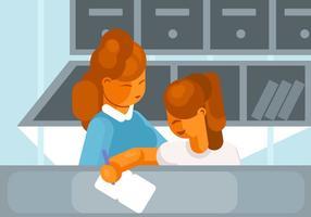 Kindermädchen helfen mit Hausaufgaben-Vektor