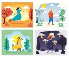 Menschen im Freien in verschiedenen Jahreszeiten Szenen