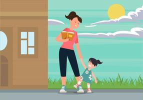 Die Nanny mit Kindern Vector Illustration