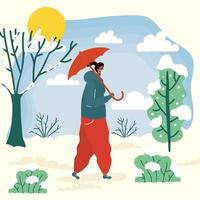 Frau mit Gesichtsmaske in einer kalten Wetterlandschaft vektor