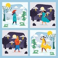 människor utomhus i olika säsongsscener