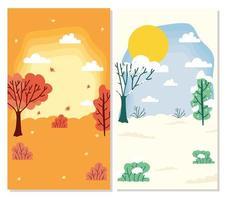 niedliche Jahreszeiten-Szenenkartenhintergrundsatz vektor