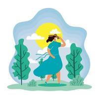 Frau mit Gesichtsmaske in einer Sommersaison-Szene