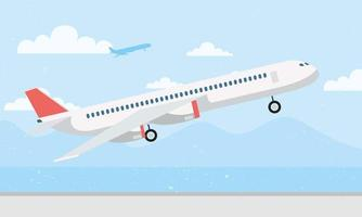 Flugzeug, das Hintergrund abhebt